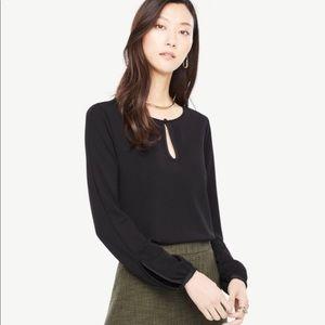 Ann Taylor black long sleeve blouse